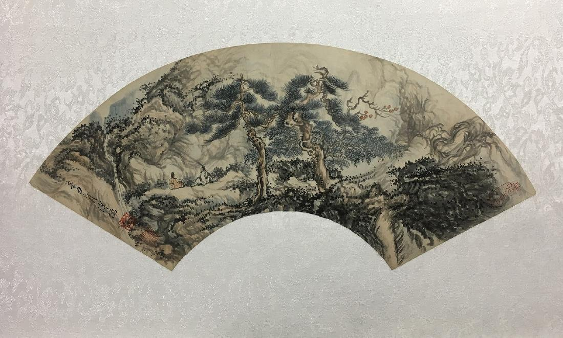CHINESE FAN PAINTING OF TREES
