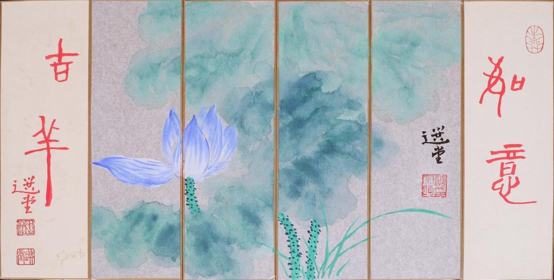 SIX PANELS OF CHINESE SCROLL PAINTING OF LOTUS WITH