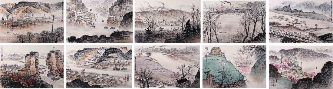 TEN PAGES OF CHINESE ABLUM PAINTING OF MOUNTAIN VIEWS