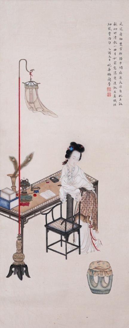 CHINESE SCROLL PAINTING OF BEAUTY BY THE TABLE