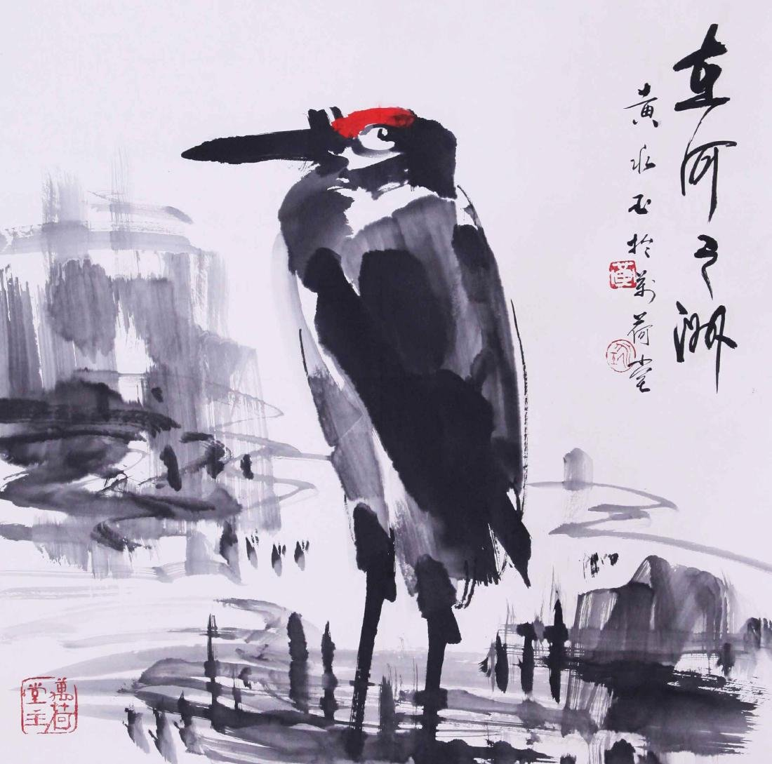 CHINESE SCROLL PAINTING OF CRANE IN RIVER WITH