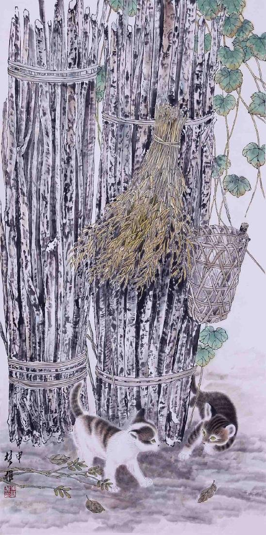 CHINESE SCROLL PAINTING OF TWO CATS