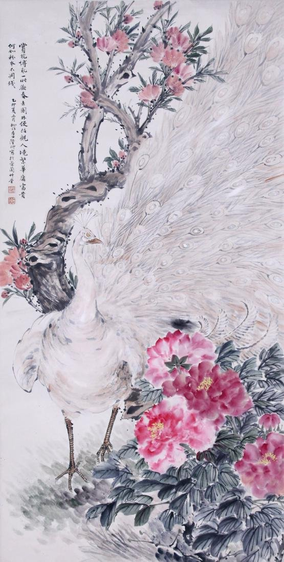 CHINESE SCROLL PAINTING OF PEACOCK AND FLOWER