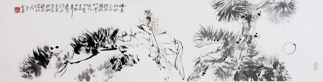 CHINESE SCROLL PAINTING OF MAN UNDER PINE TREE
