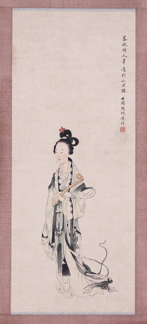 CHINESE SCROLL PAINTING OF BEAUTY