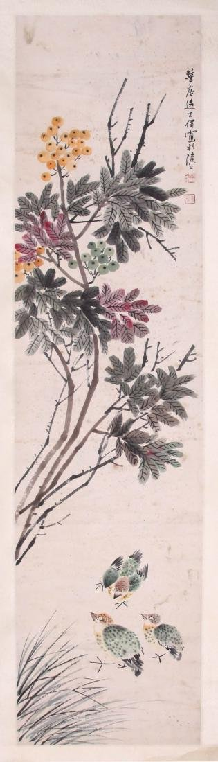CHINESE SCROLL PAINTING OF QUAIL AND FLOWER