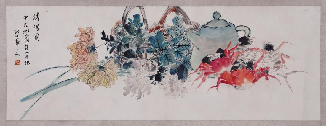 CHINESE SCROLL PAINTING OF CRAB AND FLOWER