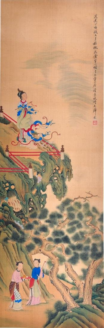 CHINESE SCROLL PAINTING OF BEAUTIES IN GARDEN