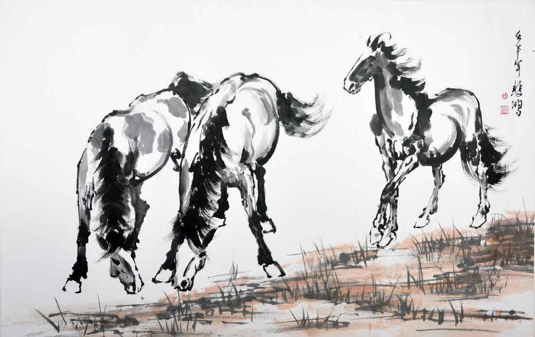 CHINESE SCROLL PAINTING OF THREE HORSES