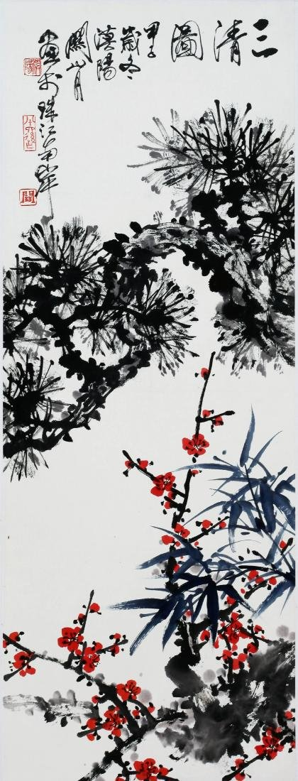 CHINESE SCROLL PAINTING OF PLUM AND PINE TREE