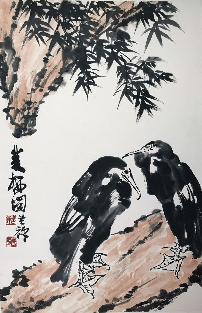 CHINESE SCROLL PAINTING OF BIRDS ON ROCK
