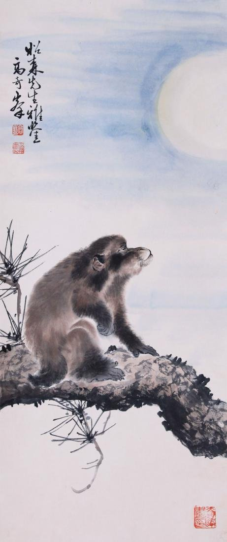 CHINESE SCROLL PAINTING OF MONKEY ON TREE