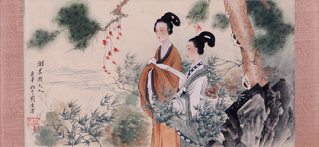 CHINESE SCROLL PAINTING OF BEAUTIES UNDER TREE