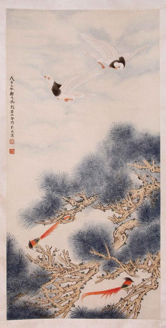 CHINESE SCROLL PAINTING OF CRANES AND PINE TREE