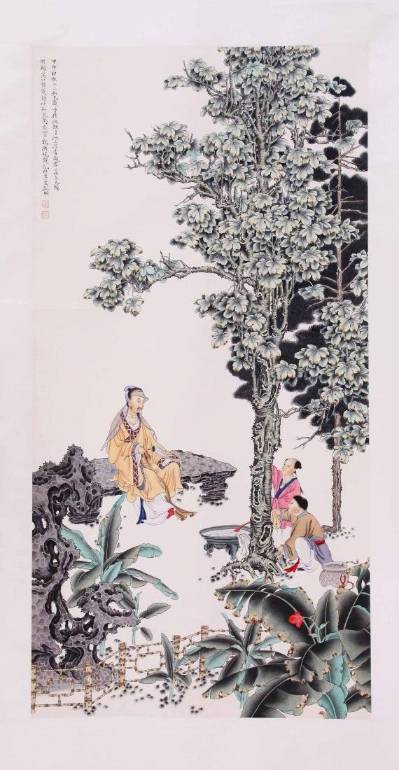 CHINESE SCROLL PAINTING OF PEOPLE UNDER TREE