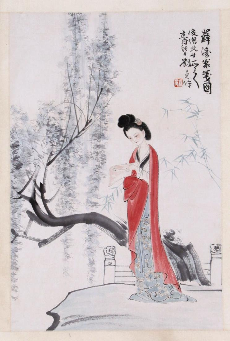 CHINESE SCROLL PAINTING OF STANDING BEAUTY