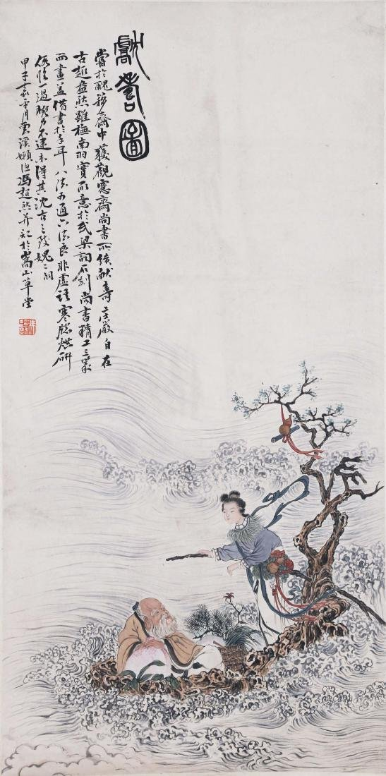 CHINESE SCROLL PAINTING OF OLD MAN AND GIRL ON BOAT