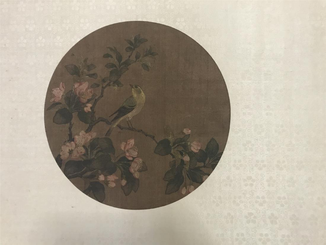 CHINESE ROUND FAN PAINTING OF BIRD AND FLOWER