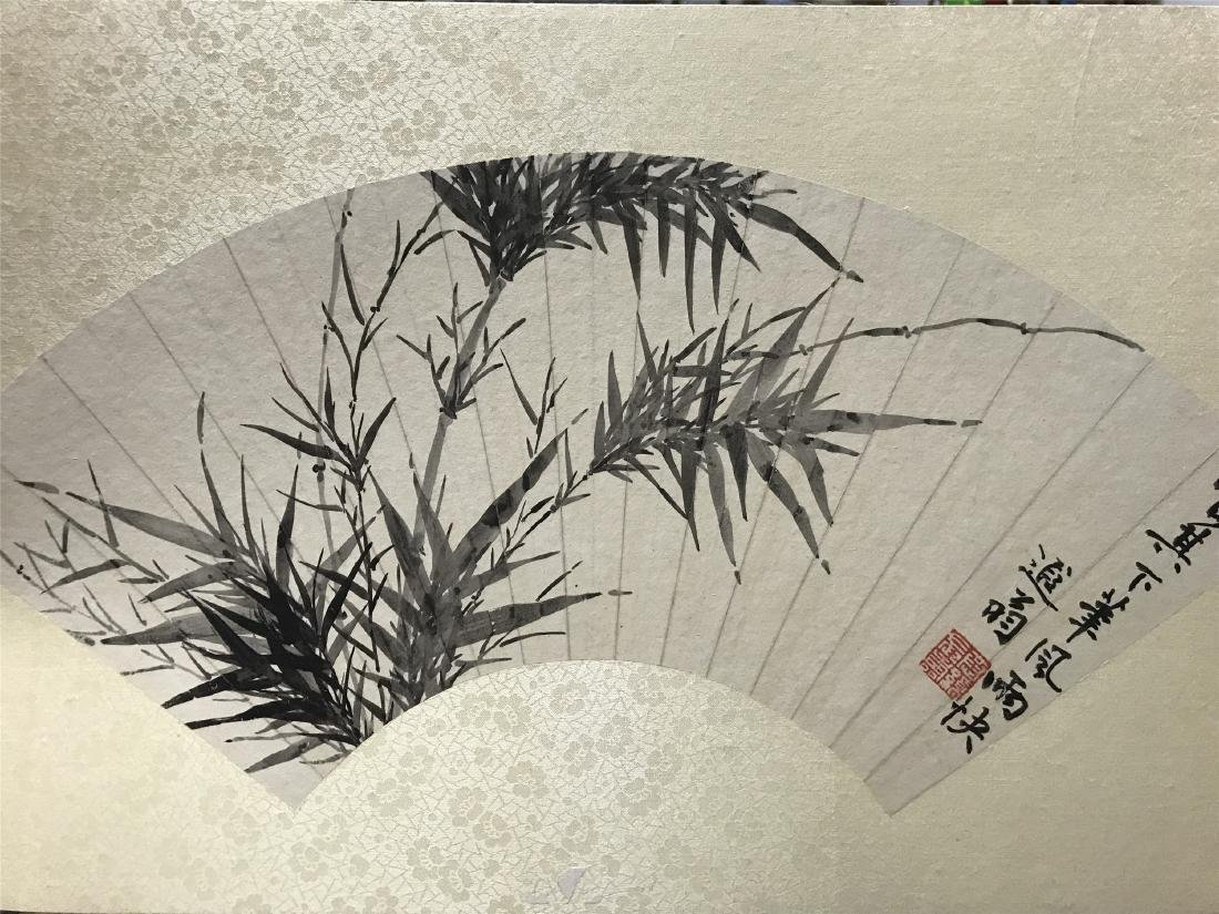 CHINESE FAN PAINTING OF BAMBOO