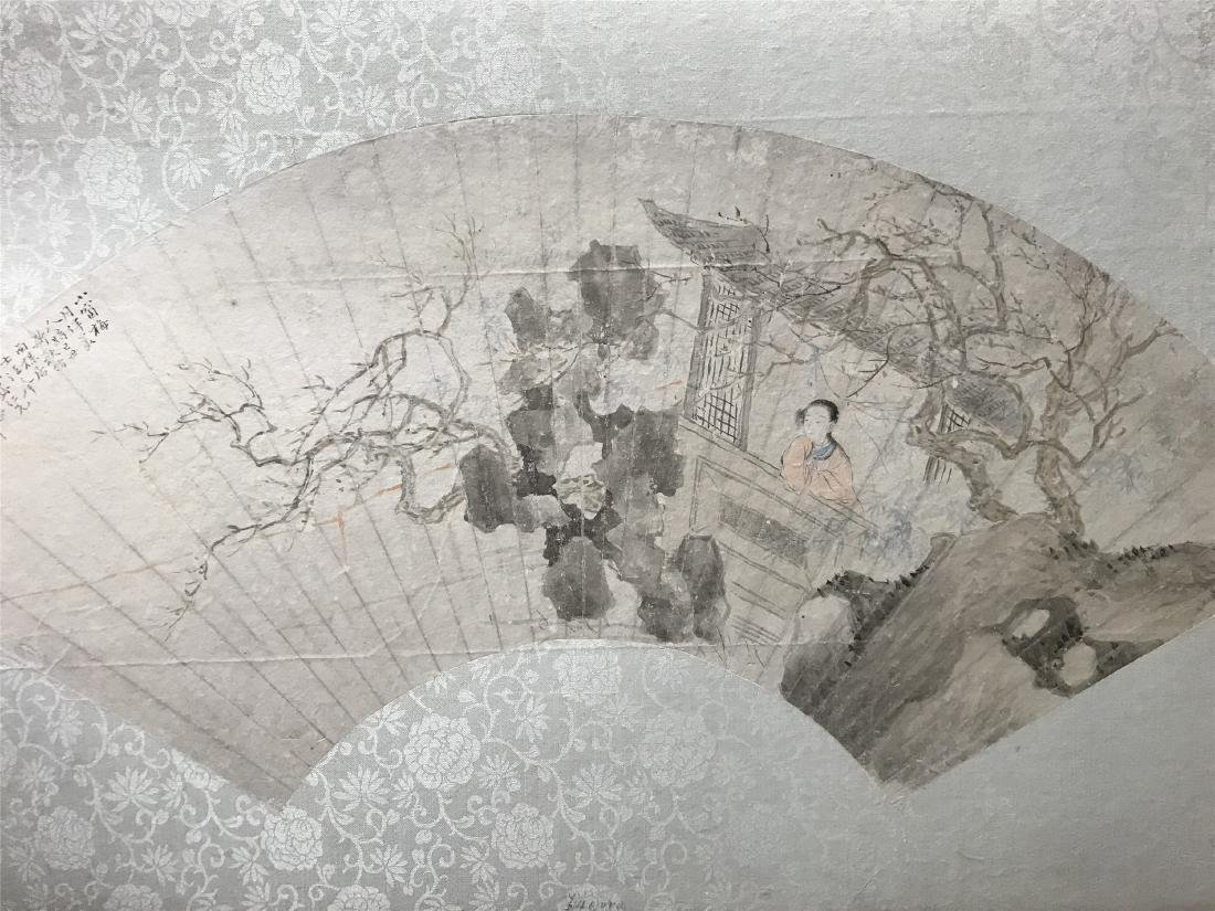CHINESE FAN PAINTING OF GIRL IN GARDEN