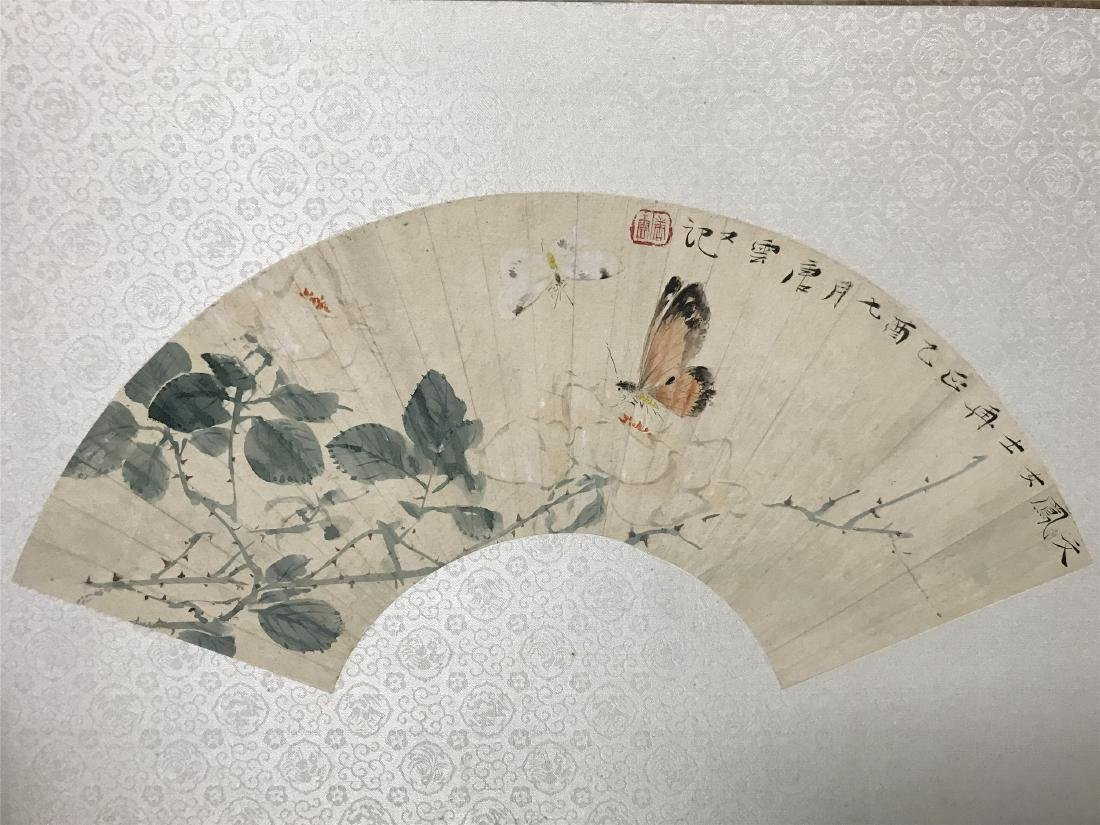 CHINESE FAN PAINTING OF BUTTERFLY AND FLOWER