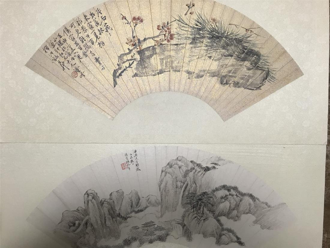 ONE CHINESE FAN PAINTING AND ONE SCROLL PAINTING OF