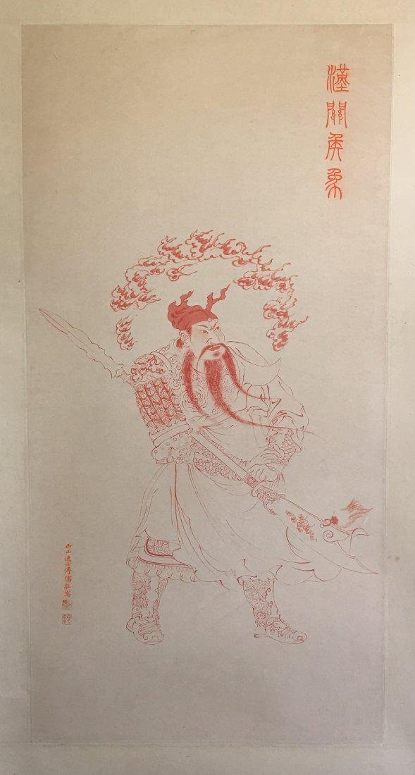 CHINESE SCROLL PAINTING OF STANDING WARRIOR
