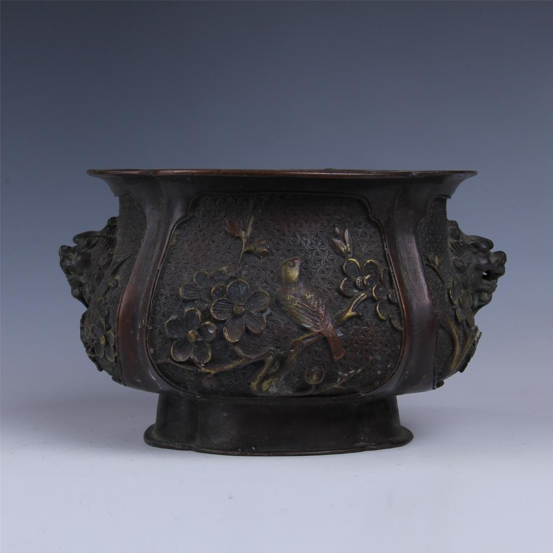 CHINESE BRONZE ROUND INCENSE BURNER