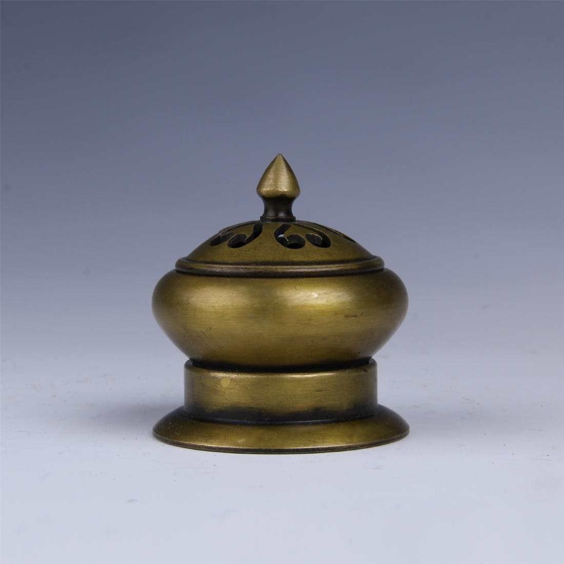 CHINESE BRONZE LIDDED INCENSE BURNER