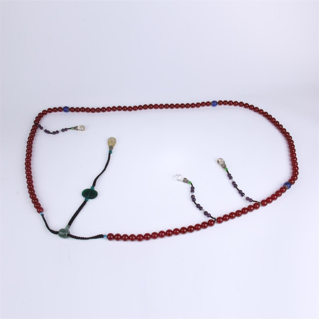 CHINESE RED AGATE BEADS CHAOZHU COURT NECKLACE