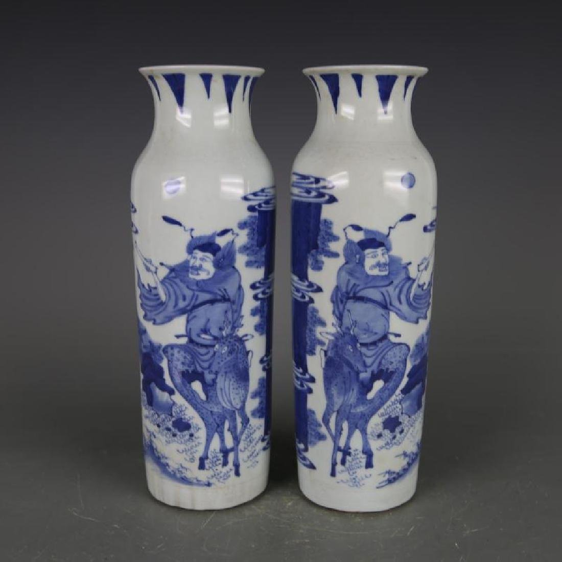 PAIR OF CHINESE PORCELAIN BLUE AND WHITE FIGURES VASES