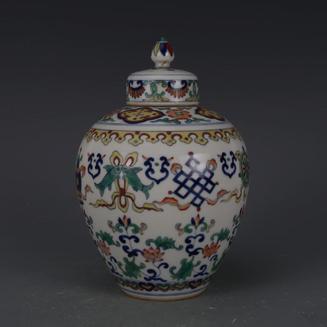CHINESE PORCELAIN DOUCAI LIDDED FLOWER JAR