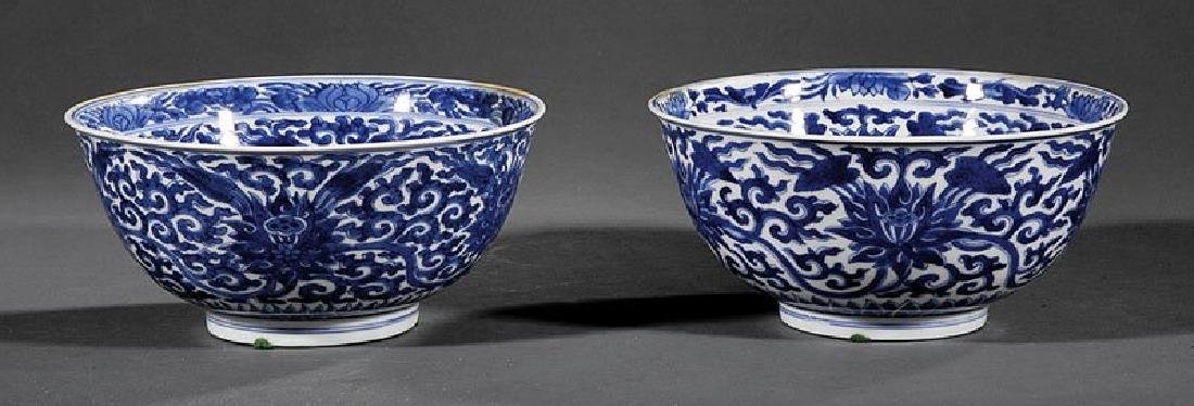 PAIR OF CHINESE PORCELAIN BLUE AND WHITE FLOWER BOWLS