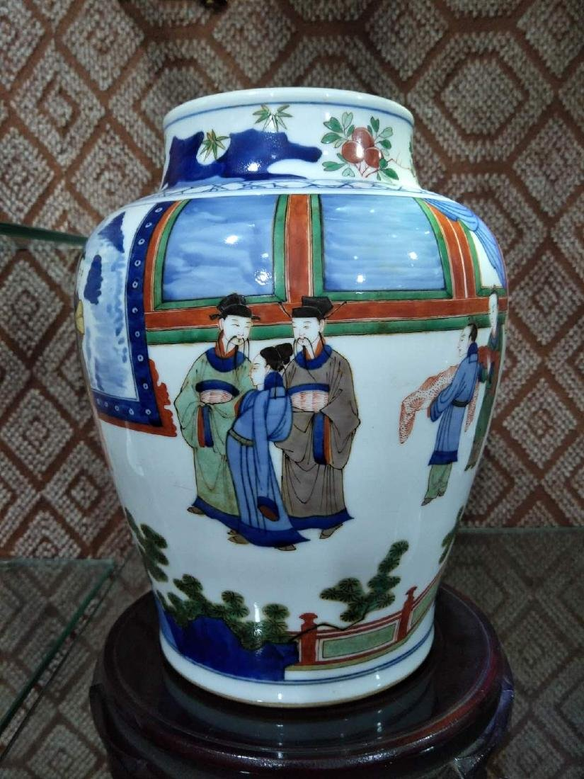 CHINESE PORCELAIN WUCAI FIGURES TEMPLE JAR