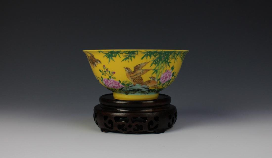 CHINESE PORCELAIN YELLOW GROUND ENAMEL BIRD AND FLOWER