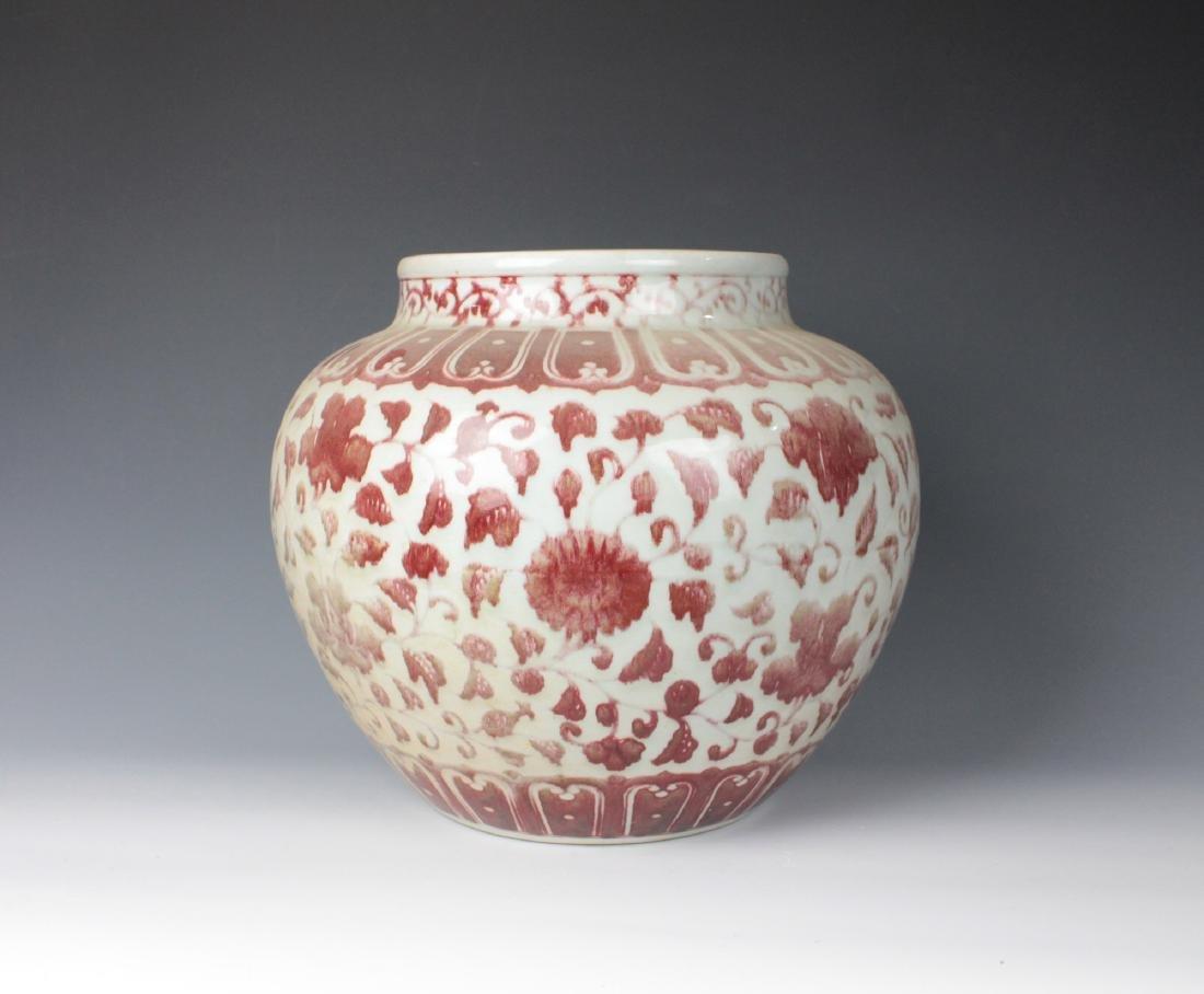 CHINESE PORCELAIN RED UNDER GLAZE FLOWER JAR