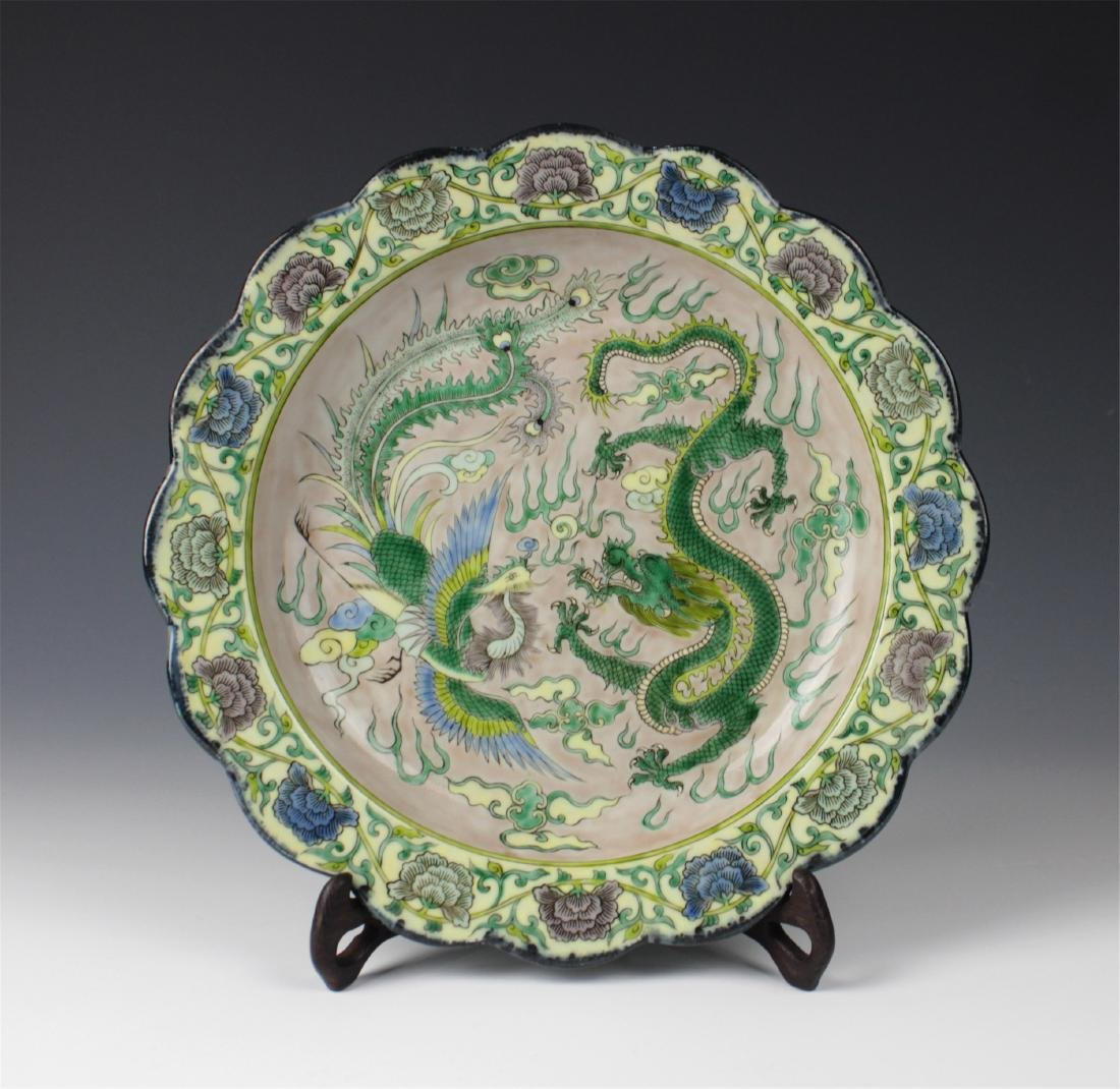CHINESE PORCELAIN SANCAI DRAGON PHOENIX PLATE