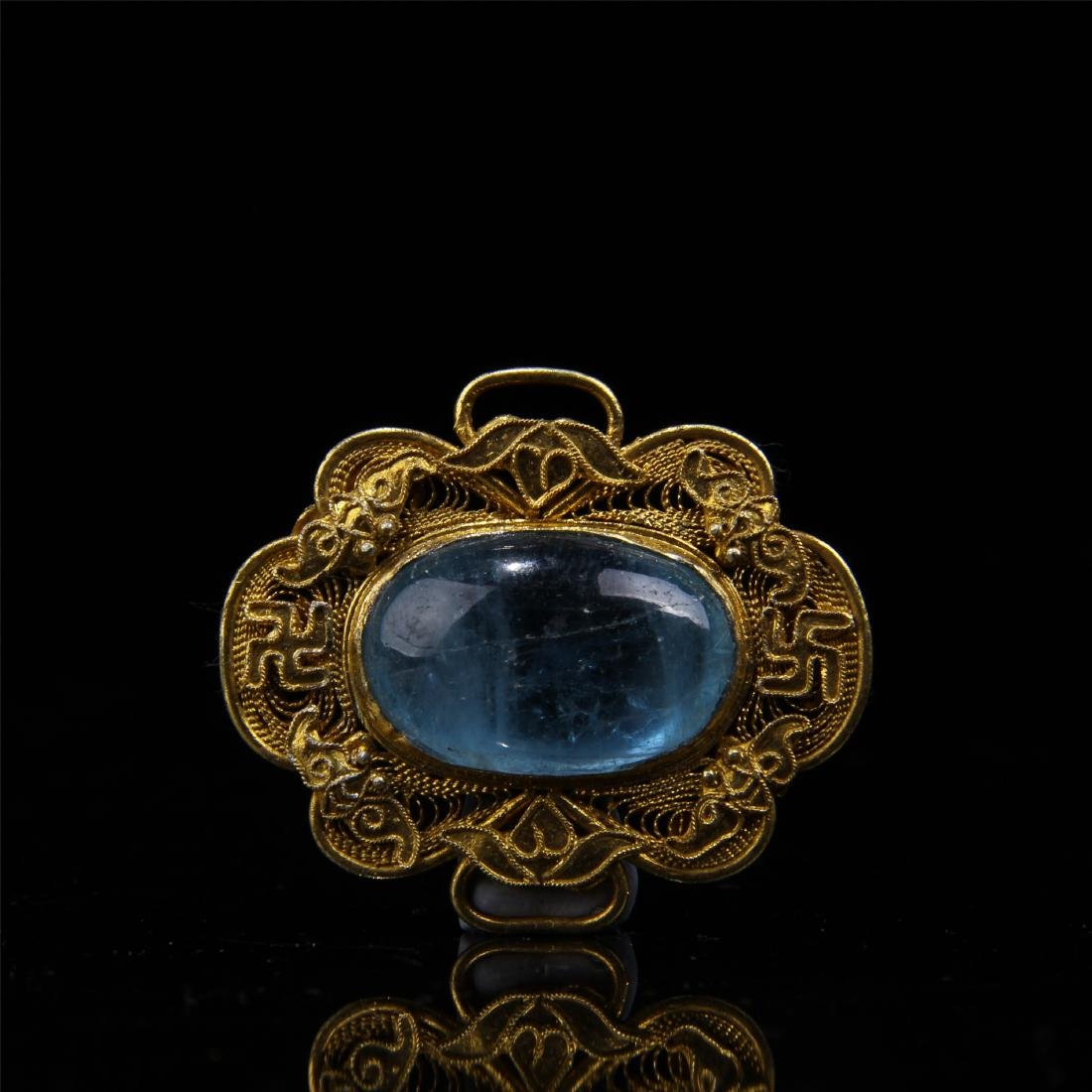 CHINESE GILT SILVER BLUE TOURMALINE HAT BADGE