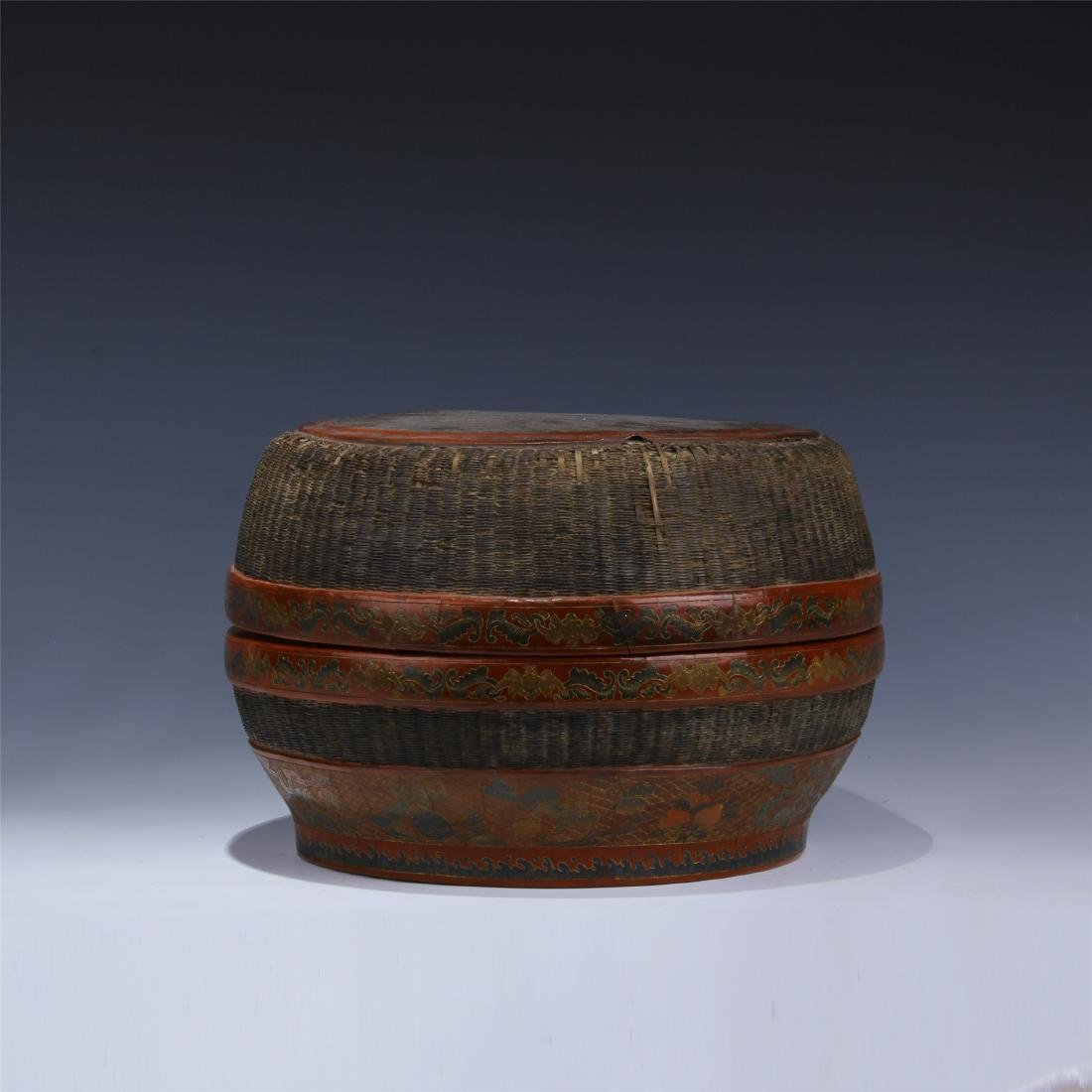 CHINESE LACQUERED RATTEN WEAVED ROUND CONTAINER