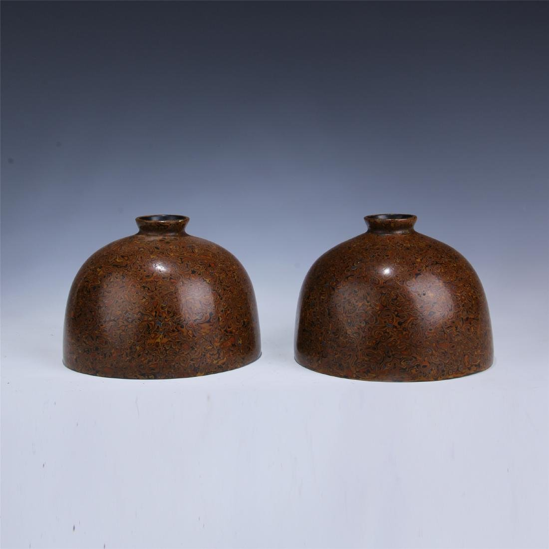 PAIR OF CHINESE RHINOCEROS SKIN LACQUERED WATER POTS