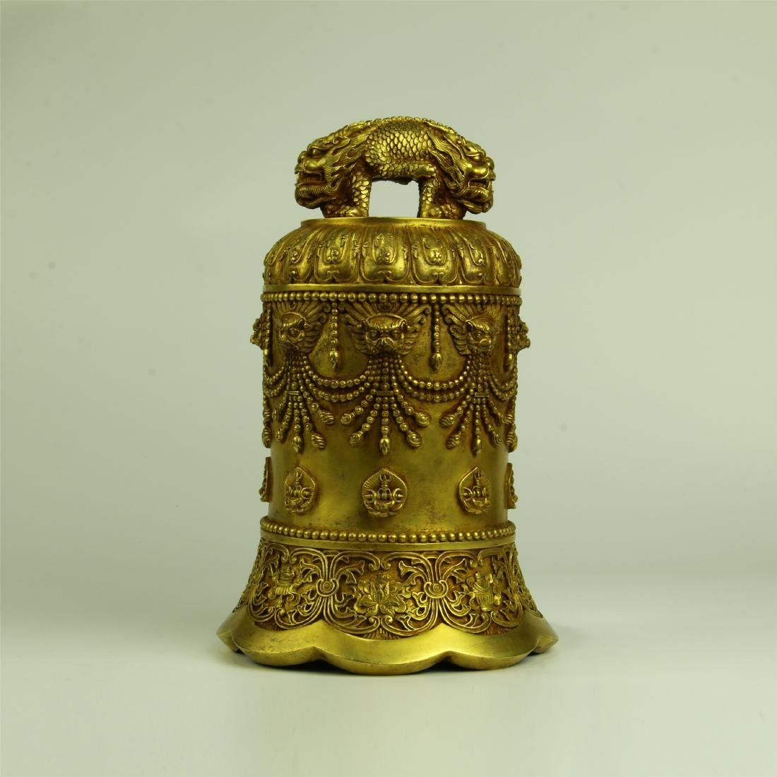 CHINESE GILT BRONZE RITAL BELL