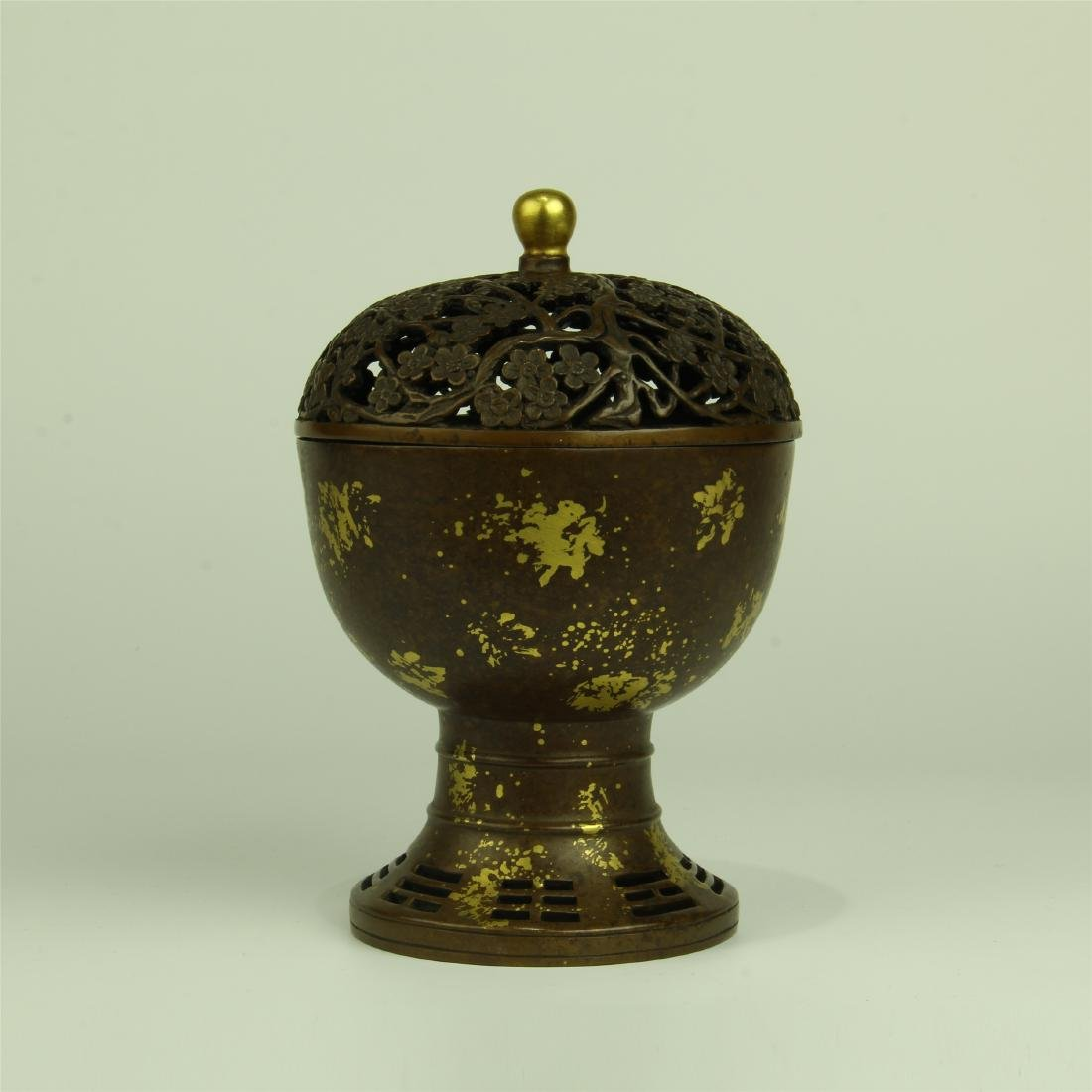 CHINESE PARTIAL GILT BRONZE LIDDED INCENSE CAGE