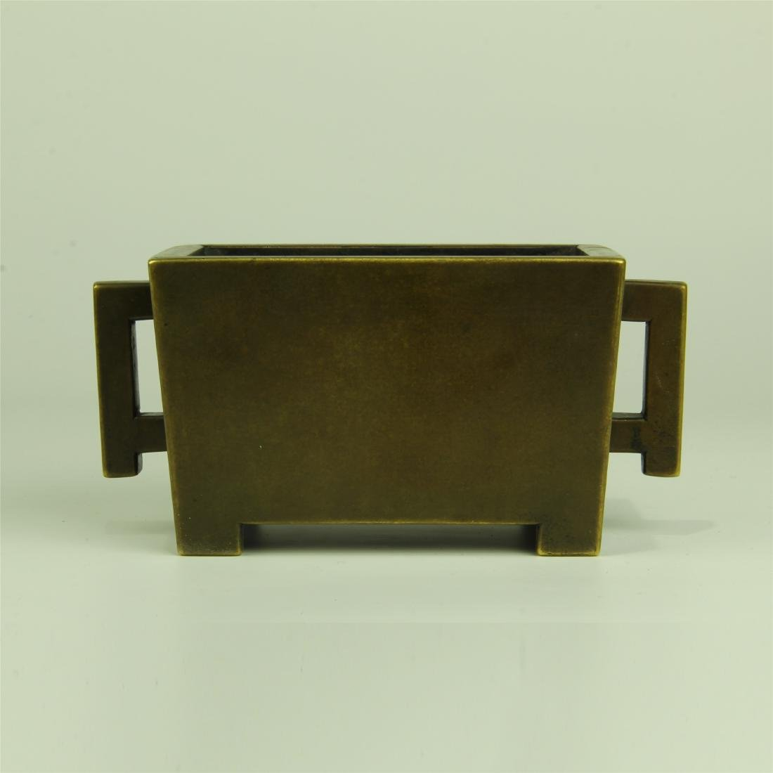 CHINESE BRONZE SQUARE INCENSE BURNER
