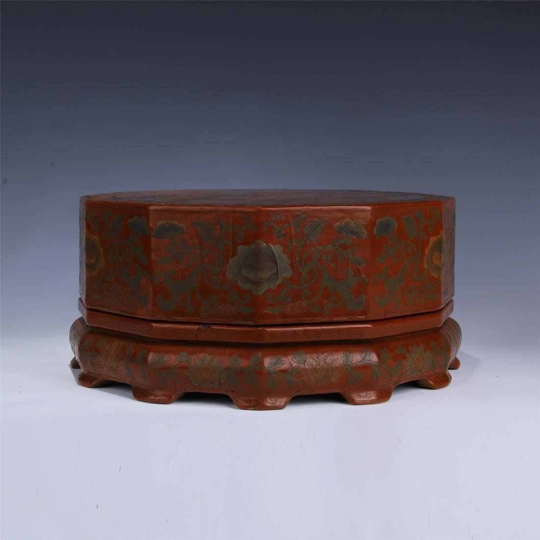 CHINESE LACQUERED OCTAGONAL BOX