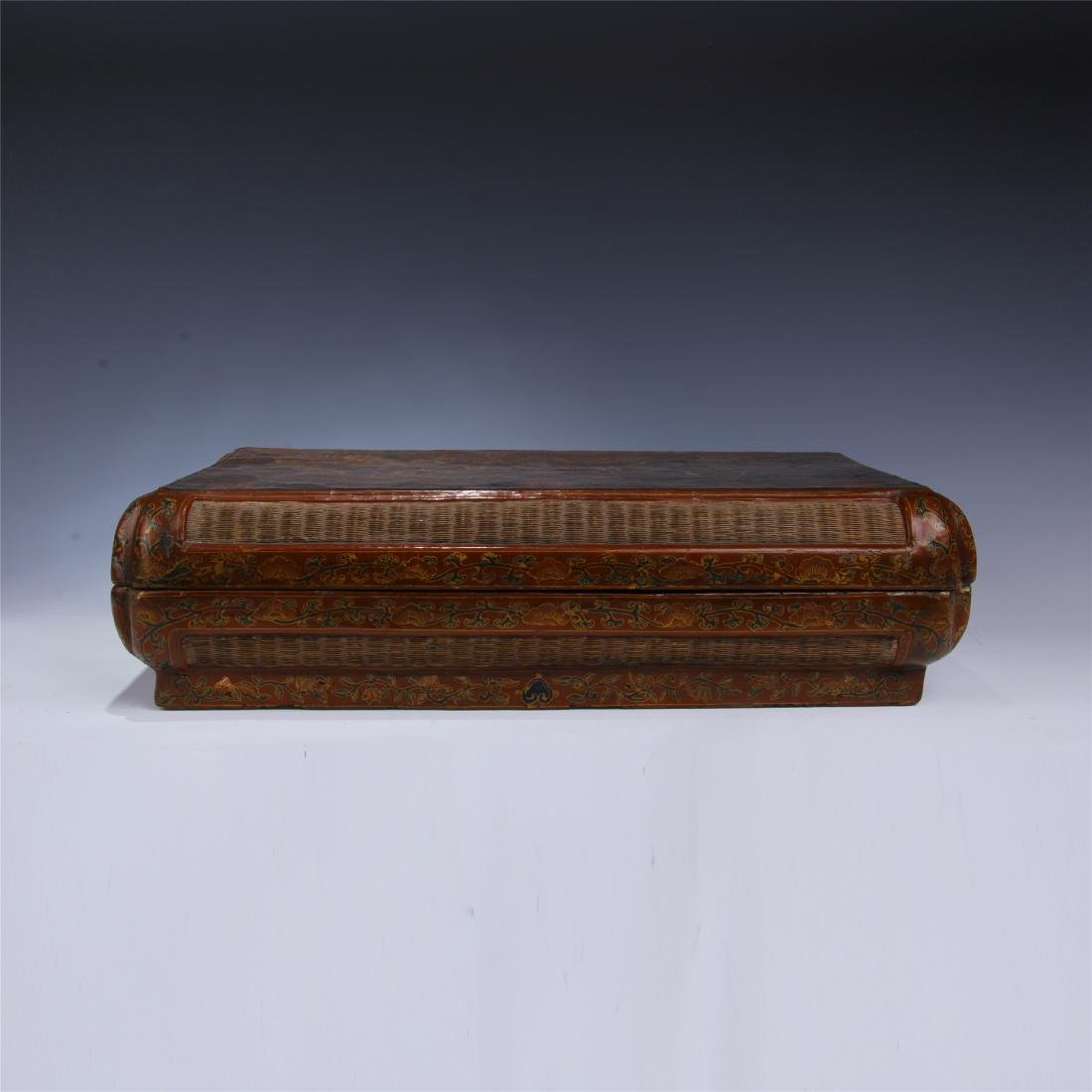 CHINESE LACQUERED RATTEN WEAVED SQUARE CONTAINER