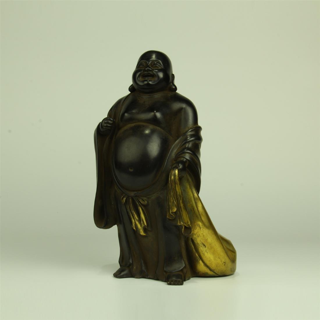 CHINESE PARTIAL GILT BRONZE STANDING BUDDHA