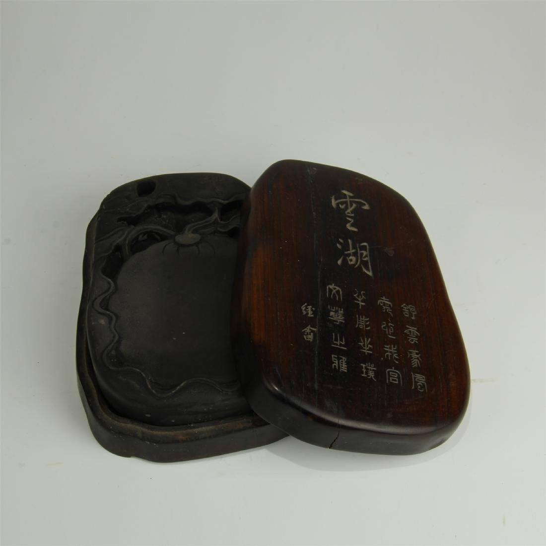 CHINESE DUAN INK STONE AND ROSEWOOD CASE