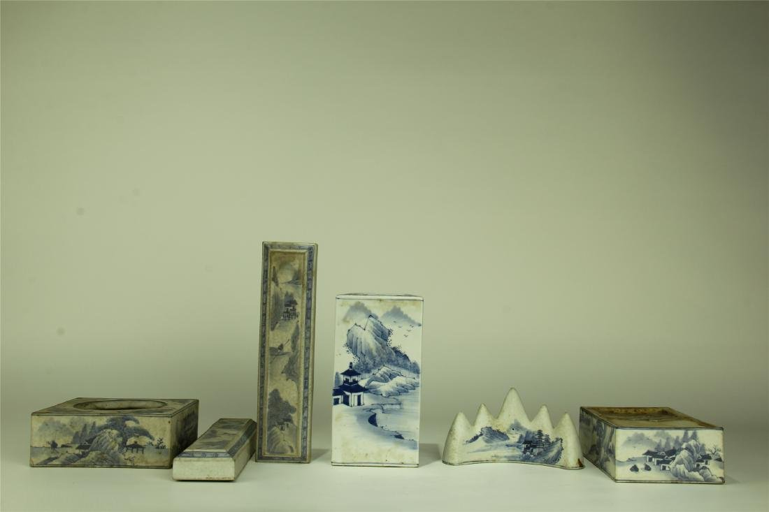 SIX CHINESE PORCELAIN BLUE AND WHITE SCHOLAR'S ITEMS