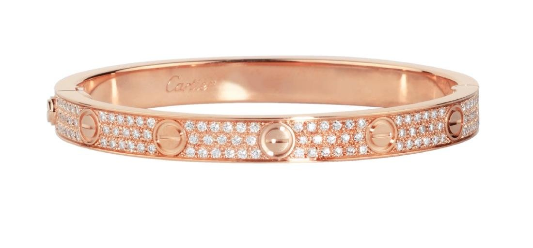 CARTIER 18K ROSE GOLD DIAMOND LOVE BRACELET