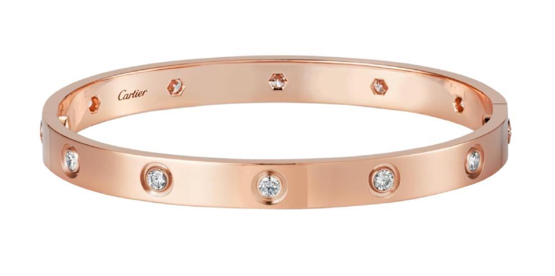 CARTIER LOVE 18K ROSE GOLD DIAMOND BRACELET